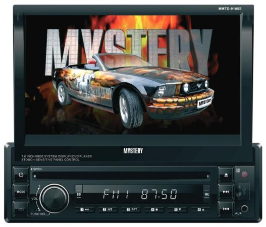 Автомагнитола Mystery MMTD-9108S 7 800х480 USB MP3 CD DVD FM SD MMC 1DIN 4x50Вт пульт ДУ черный