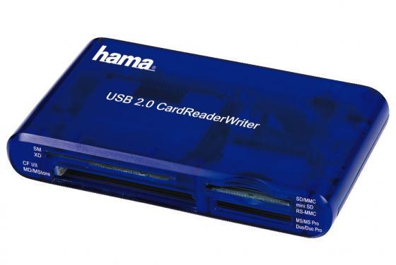 Картридер внешний Hama H-55348 35в1 USB 2.0 поддерживает SDXC синий