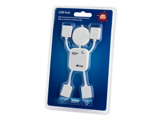 Концентратор USB 2.0 PCPet Human 4 x USB 2.0 белый