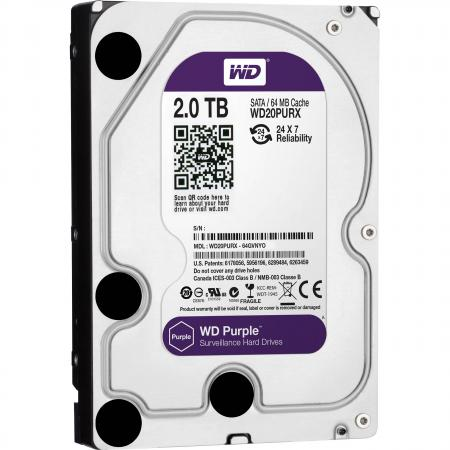 Жесткий диск 3.5 2Tb 64Mb cache Western Digital Purple SATAIII WD20PURX жесткий диск 3 5 8 tb 5400rpm 128mb cache western digital purple sataiii wd80purz