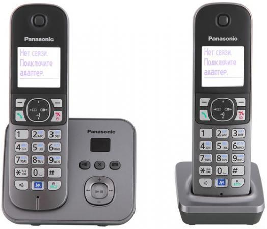 Радиотелефон DECT Panasonic KX-TG6822RUM серый металлик цена