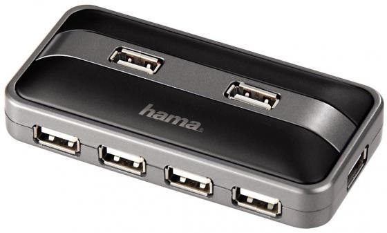Концентратор USB 2.0 HAMA H-78483 7 x USB 2.0 черный серебристый уничтожитель бумаг hama basic x7cda h 50196 7 лст 13лтр
