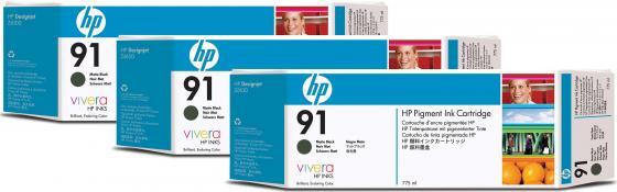 Картридж HP C9480A №91 для HP DJ Z6100 матовый черный 3шт картридж hp sd367ae 21 22 для hp dj 3900 d1400 d1500 черный цветной