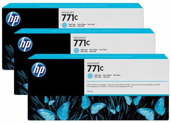 Картридж HP B6Y36A №711С для HP Designjet Z6200 775мл светло-голубой 3шт картридж hp pigment ink cartridge 70 black z2100 3100 3200 c9449a