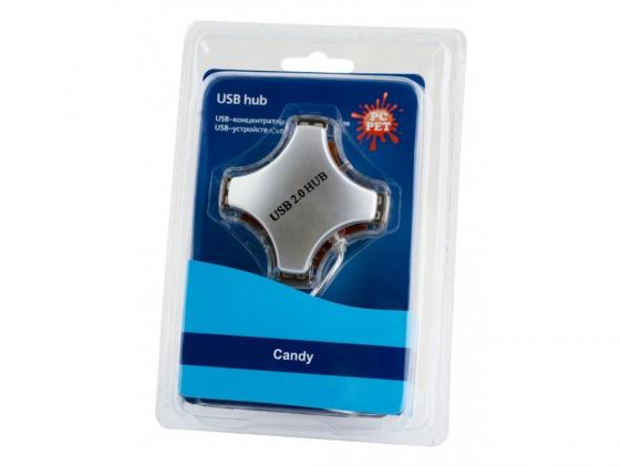 Концентратор USB 2.0 PCPet Candy 4 x USB 2.0 серебристый