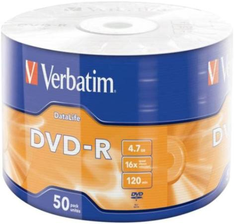 Диски DVD-R Verbatim 16x 4.7Gb Data Life 50шт 43791 диски dvd r verbatim 16x 4 7gb slimcase 100шт 5x20шт 43547