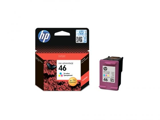 Картридж HP №46 CZ638AE для Deskjet Ink Advantage 2020hc Printer / 2520hc AiO трехцветный модуль памяти kingston hyperx fury black hx313c9fbk2 8 ddr3 2x 4гб 1333 dimm ret