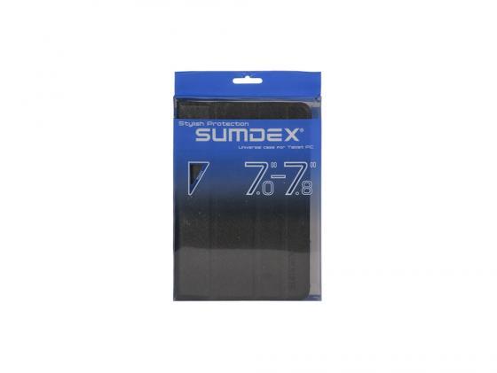 Чехол Sumdex универсальный для планшетов 7-7.8 черный TCH-704 BK чехол универсальный 7 7 8 sumdex tch 704vt металлические уголки фиолетовый