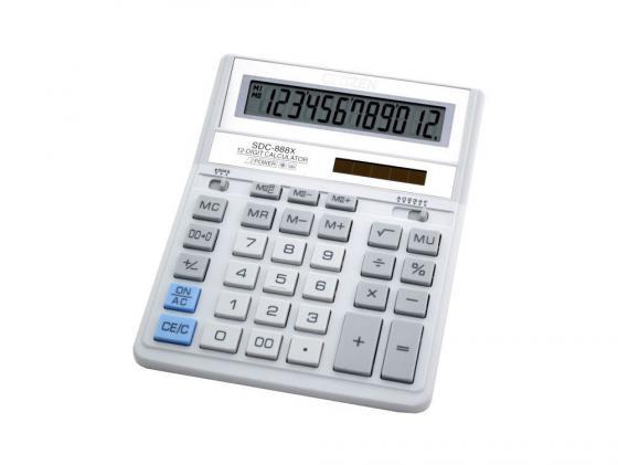 Калькулятор Citizen SDC-888XWH двойное питание 12 разрядов бухгалтерский белый/серый citizen sdc 395n
