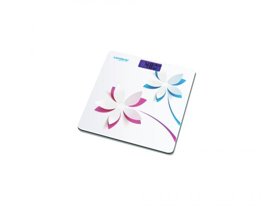 Весы напольные Kromax Endever Skyline FS-506 электронные корпус из закаленного стекла до 5кг подсветка белый рисунок Цветы до 150кг