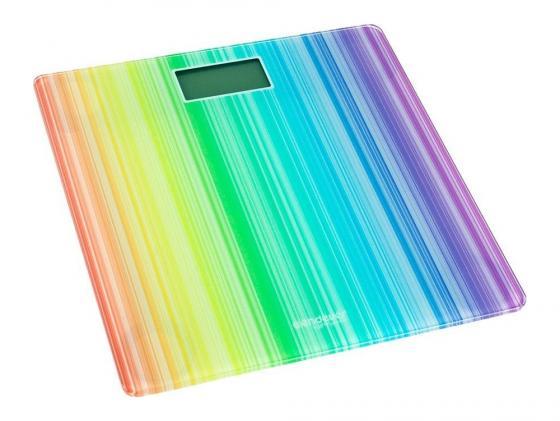 Весы напольные Kromax Endever Skyline FS-509 электронные корпус из закаленного стекла до 5кг подсветка белый рисунок Радуга до 150кг