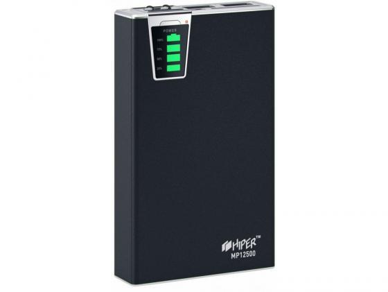 Портативное зарядное устройство HIPER Power Bank MP12500 12500мАч 2x USB 1/2.1А картридер SD фонарик черный цена и фото