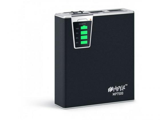 Портативное зарядное устройство HIPER Power Bank MP7500 7500мАч 2x USB 1/2.1А картридер SD фонарик черный 2x 7 inch twins hd digital screen car headrest dvd player pillow usb sd port free two ir headphones remote control car pillow