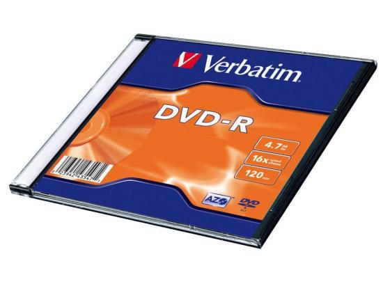 цена на Диск DVD-R Verbatim 16x 4.7Gb SlimCase 1шт 43547