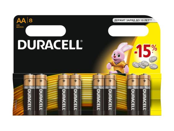 Батарейки Duracell MN1500 LR6 AA 8 шт батарейки duracell mn21 b1 security 12v alcaline