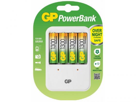 Зарядное устройство 1300 mAh GP PB420GS130 AA 4 шт зарядное устройство и аккумулятор gp powerbank pb420gs130 1300mah aa 4шт