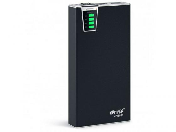 цена на Портативное зарядное устройство HIPER Power Bank MP15000 15000мАч 2x USB 1/2.1А картридер SD фонарик черный