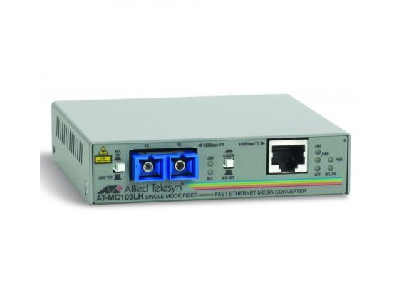 Медиаконвертер Allied Telesis AT-MC103LH-60 RJ-45 to 100FX SC single-mode fiber 40km медиаконвертер allied telesyn at mc103xl 60 100basetx to 100basefx медиа конвертер