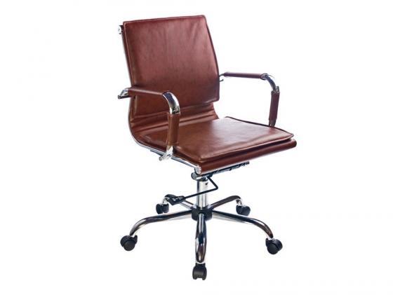 Кресло Buro CH-993-Low/Brown низкая спинка коричневый искусственная кожа крестовина хром цена