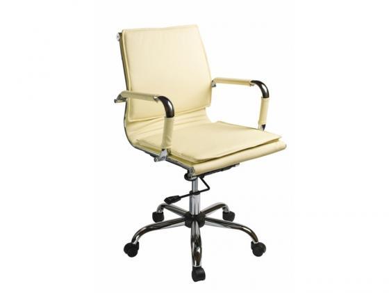 Кресло Buro CH-993-Low/Ivory низкая спинка крестовина хром искусственная кожа белый цена
