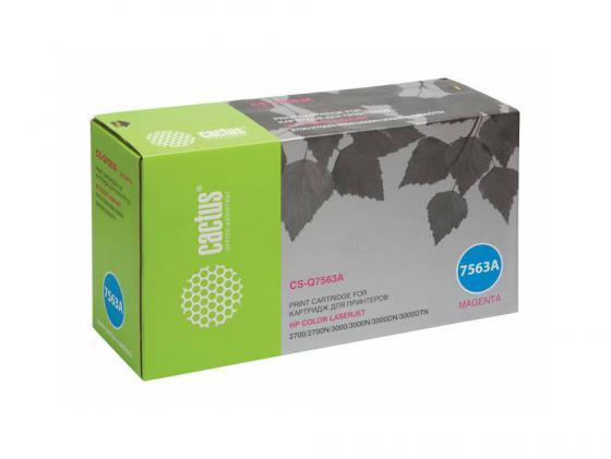 Картридж Cactus CS-Q7563A для HP Color LaserJet 2700/3000 пурпурный 3500стр impressora laserjet 2700 3000 rplacement for hp toner cartridge chip q7560a q7561a q7562a q7563a