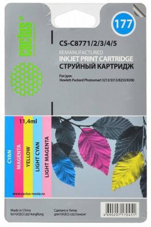 Комплект картриджей Cactus CS-C8771/2/3/4/5 №177 для HP PhotoSmart 3213/3313/8253/C5183/C6183/C6283 цветной