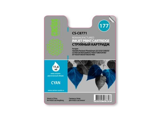 Картридж Cactus CS-C8771 для HP PhotoSmart 3213/3313/8253/C5183/C6183 голубой 950стр hp c8719he 177xl black для photosmart 8253 3213 3313