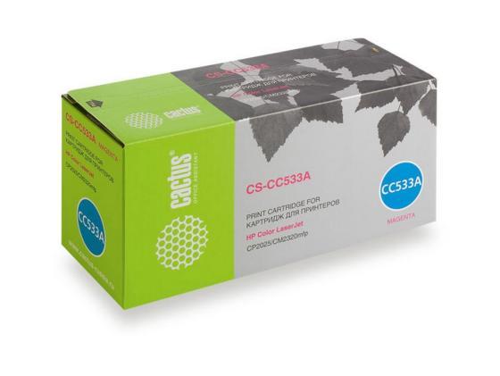 Тонер-картридж Cactus CS-CC533A для HP Color LaserJet CP2025/CM2320mfp пурпурный 2800стр картридж profiline pl cc533a magenta для hp clj cp2025n cp2025dn cp2025x cm2320n cm2320nf cm2320fxi 2800стр