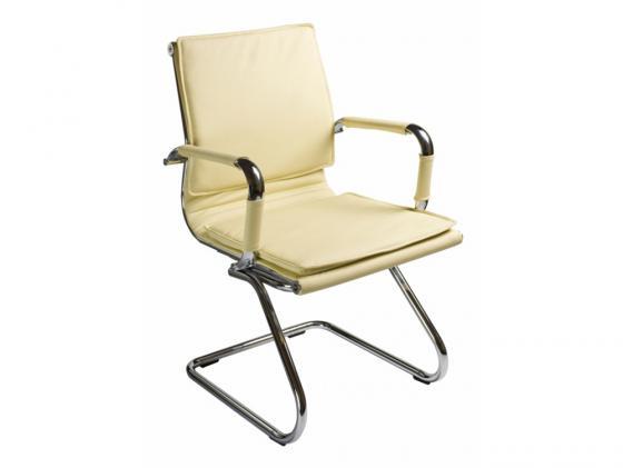 Кресло Buro CH-993-Low-V/Ivory низкая спинка слоновая кость искусственная кожа полозья хром цена