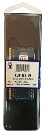 Оперативная память для ноутбуков SO-DDR3 8Gb PC12800 1600MHz Kingston KVR16LS11/8 память ddr3 dell 370 abgj 8gb rdimm reg 1866mhz