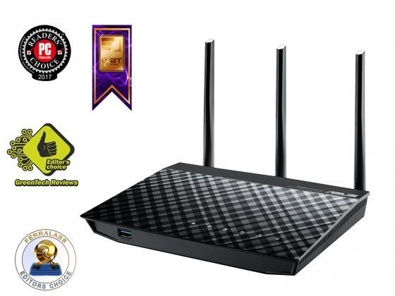 Беспроводной маршрутизатор ASUS RT-N18U 802.11bgn 600Mbps 2.4 ГГц 4xLAN черный asus rt n18u 802 11n 600мбит с 2 4ггц 4xgblan wan usb