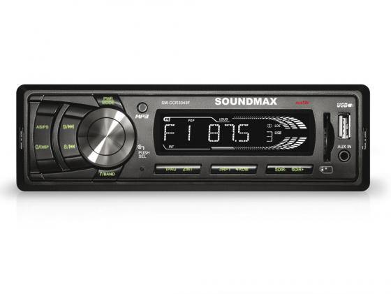 Автомагнитола Soundmax SM-CCR3049F USB MP3 FM RDS SD MMC 1DIN 4x45Вт черный автомагнитола rolsen rcr 253r бездисковая usb mp3 fm sd mmc 1din 4x45вт черный