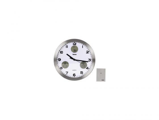 Часы Hama H-113982 AG-300 настенные аналоговые с метеостанцией серебристый все цены