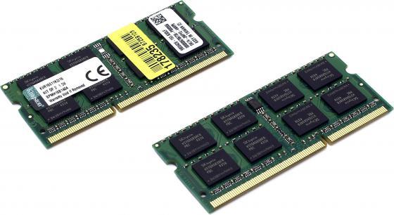 Оперативная память для ноутбука 16Gb (2x8Gb) PC3-12800 1600MHz DDR3 SO-DIMM CL11 Kingston KVR16S11K2/16 оперативная память для ноутбуков so ddr3 16gb 2x8gb pc17000 2133mhz kingston cl11 hx321ls11ib2k2 16 hyperx impact black