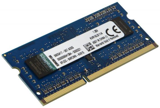 Оперативная память для ноутбуков SO-DDR3 4Gb PC12800 1600MHz Kingston CL11 KVR16LS11/4 модуль памяти so dimm ddr3 4gb pc12800 1600mhz kingston kvr16ls11 4