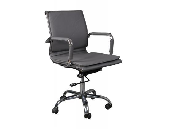 Кресло Buro CH-993-LOW/GREY искусственная кожа крестовина хром серый кресло buro ch 868axsn black пластик темно серый черная искусственная кожа