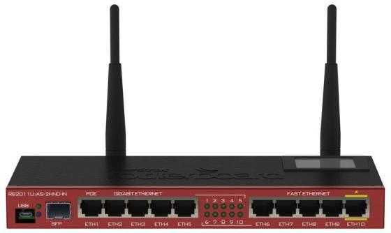 Маршрутизатор MikroTik RB2011UiAS-2HnD-IN 802.11bgn 300Mbps 2.4 ГГц 10xLAN USB черный красный беспроводной маршрутизатор mikrotik rb951g 2hnd 802 11n 300мбит с 2 4ггц 5xlan usb