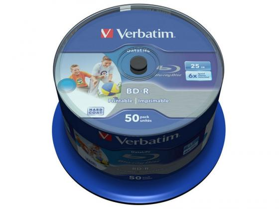 цена на Диски BluRay Verbatim BD-R 25Gb 6x CakeBox Printable 43812 50шт