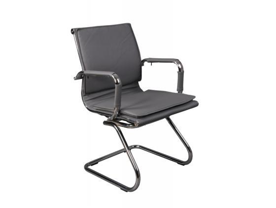 Кресло Buro CH-993-Low-V/grey низкая спинка искусственная кожа полозья хром серый кресло buro ch 868axsn black пластик темно серый черная искусственная кожа