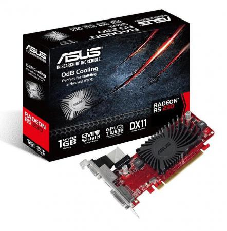 Видеокарта ASUS AMD Radeon R5 230 R5230-SL-1GD3-L PCI-E 1024Mb GDDR3 64 Bit Retail asus geforce gt 610 810mhz pci e 2 0 1024mb 1200mhz 64 bit vga dvi hdmi hdcp gt610 1gd3 l
