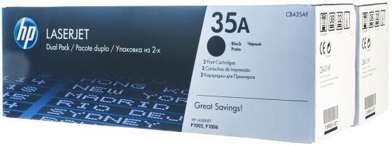 Картридж HP CB435AF для LaserJet P1005/P1006 черный двойная упаковка 3000стр kартридж hp 35a black cb435af