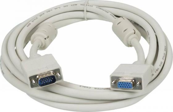 Фото - Кабель VGA 3м Ningbo CAB015S-10F круглый серый кабель удлинитель svga ningbo cab015s 5m vga m vga f ферритовый фильтр 5м