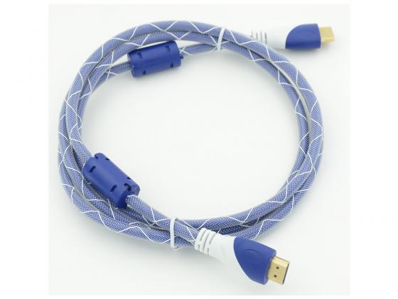 Кабель HDMI 1.8м Gembird Ver.1.4 Blue/white jack ферритовые кольца позолоченные контакты 794315 кабель hdmi 3 0м gembird ver 1 4 blue jack ферритовые кольца позолоченные контакты