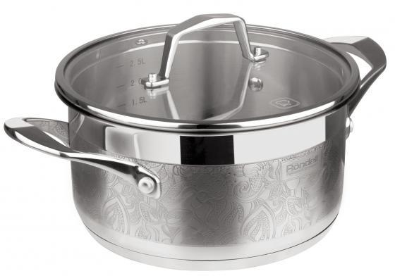 Кастрюля Rondell Fancy RDS-398 5.5л 24см стеклянная крышка нержавеющая сталь серебристый casserole with lid rondell fancy 20 cm 2 5 l rds 397