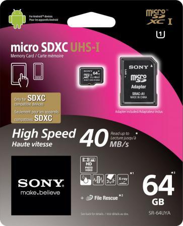 Карта памяти Micro SDXC 64Gb Class 10 Sony SR64UYAT1 + адаптер карта памяти compactflash sony qd n64 j