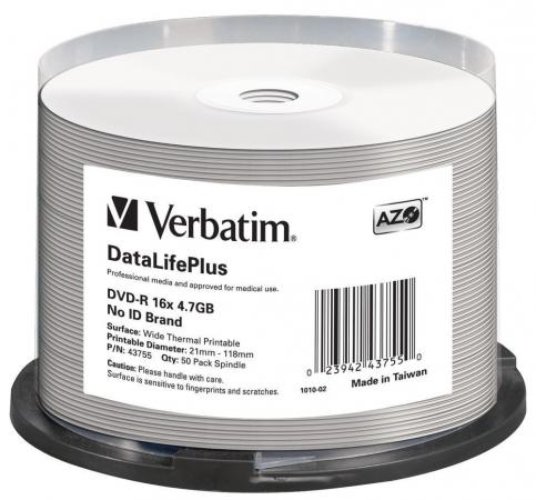 Диски DVD-R Verbatim 16x 4.7Gb Cake Box 50шт Printable 43755 диски cd dvd sony dvd r 16x dvd dvd