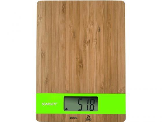 Весы кухонные Scarlett SC-KS57P01 электронные бамбук зеленый масляный радиатор scarlett sc oh67b02 7