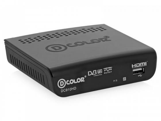 Тюнер цифровой DVB-T2 D-Color DC910HD черный тв приставка d color dc910hd