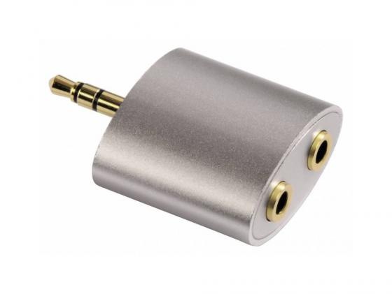 Переходник Hama Aluline 3.5мм Jack(m)-2x3.5мм Jack(f) позолоченные контакты серебристый H-80853 кабель соединительный 0 75м hama aluline 3 5 jack m 3 5 jack m позолоченные контакты черно серебристый 80874