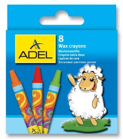 Восковые мелки Adel круглые 10 мм 8 штук 8 цветов от 3 лет 228-2814-000
